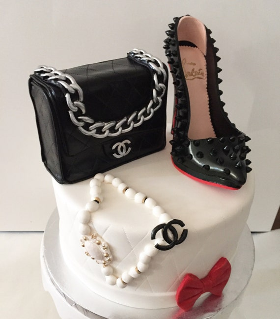 Edible Fondant High Heel Shoe And Purse Cake Toppers Also