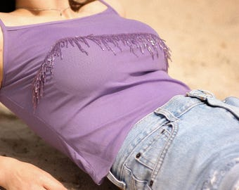Vintage Purple Beaded 90s Tank