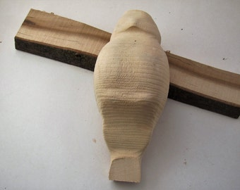 quality basswood small owl wood roughout,great carving project,northern basswood,made in Montana,unusual gift,small wooden owl cutout,