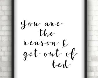 Monochrome You are the reason typography, quote print, foil print, wall decor, wall art, wall hanging, home decor, love quotes, love prints