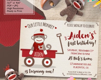 Cute Sock Monkey Birthday Party invitations Red wagon Sock Monkey DIY printable Birthday invite