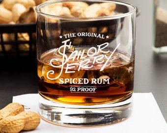 2pcs - Sailor Jerry - Engraved Whiskey Glasses - Rocks Glasses (DG129-RG11OZ)
