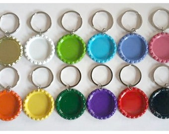 25 Painted Bottlecap Key Chain Charms, Painted Flat Bottle Caps, Craft Kit, Party Favors