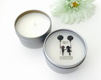 Love is in the air papercut- Personalised Candle Tin Favours Wedding