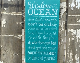 Wisdom From The Ocean, Made To Order Custom Sign, Ocean Wisdom, Wisdom Sign, Coastal Sign, Beach Sign, Nautical Sign