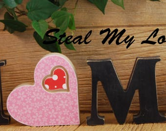 "Interchangeable  Unfinished ""O"" Insert Valentines Day Decorations- Compatible with Home, Love and Welcome Letter Set"