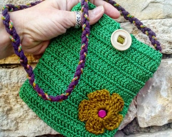 Child's Shoulder Bag, Small kids coin purse, Cute Eco friendly handbag, Repurposed twine with Upcycled lining, Plastic buttons, Purple strap