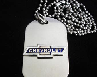 Chevrolet Titanium Steel Dog Tag with adjustable 24-Inch beaded necklace with Free Engraving