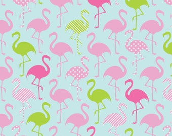 Flamingo Party Jersey Knit from Springs Creative 637350340710 aqua pink green cotton spandex lycra knit 4way 50% stretch