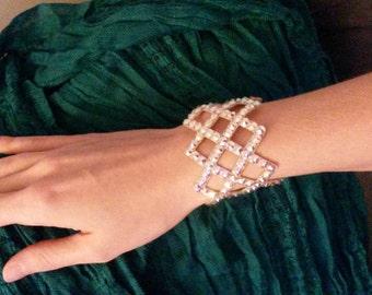 Ballroom Jewelry Bracelet Rhinestone Crystal Cross Diamond Weave Cuff Made to Order