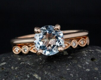 Rose Gold Blue Aquamarine Ring - Wedding Set - Milgrain Wedding Band
