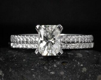 Radiant Cut Moissanite Engagement Ring - Forever Brilliant - Half Eternity Diamond Band