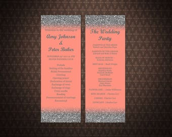 wedding program template coral and silver wedding coral poster instant download printable