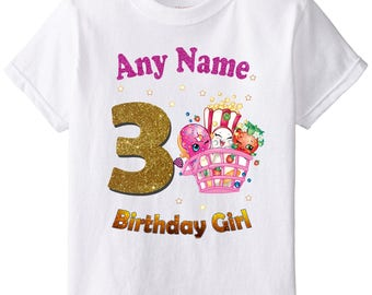 Any Name and Numeral on T-shirt Birthday Girl. Shopkins Birthday Shirt. Birthday Party. Iron on Transfer. Family Shirts. Printable.