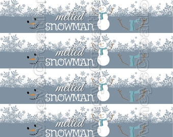 MELTED SNOWMAN/Water Bottle Labels/Snack/Drink label/Instant Download/Printable PDF