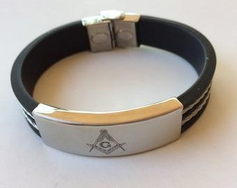 Masonic Bracelet Stainless Steel Black Rubber, Bracelet Freemasonry Symbol silicone bracelet, Masonic Symbol Compass and Square Bracelet