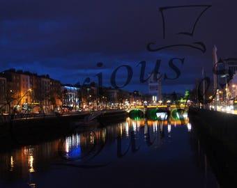Dublin night scene over River Liffey