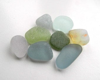 Chunky Pendant Sized Sea Glass Pieces in Dusky Shades