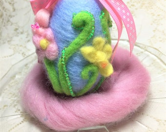 Spring Floral Easter Egg  Needle Felted OOAK Table Basket Decor with Pink Polka Dot Ribbon~ Free Shipping