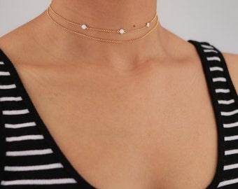 Dainty Charm Choker Necklace - Delicate Enamel Necklace - White Choker - Charm Necklace - Layering Necklace - Bohemian Jewelry