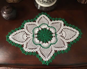 Handmade Green Doily - French Country Decor - Crochet Lace Doily - Vintage Home Decor - Spring Doily - Farmhouse Decor - Wedding Gift