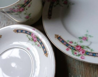 Vintage teacup trio. Pink and blue floral. Vintage tea set. Tea party. Wedding china. Garden party.