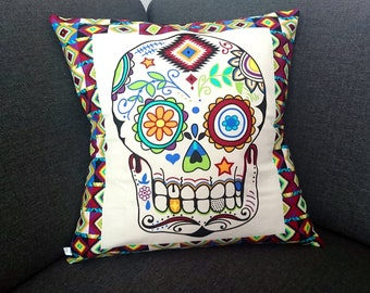 Sugar Skull Aztec Cushion Cover. Washable. Colourful. Day of the Dead. Skulls. Flowers.  El Dia de los Muertos. Calavera. Unique home decor.