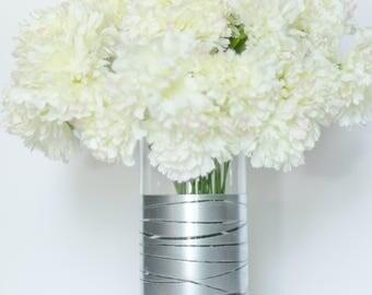 Silver Vase, Silver Dipped Striped Vase