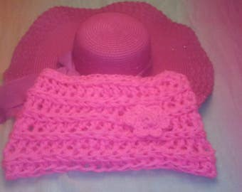 Chunky Cowl with Flower Accent