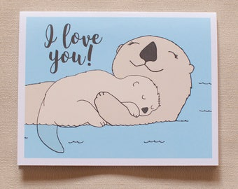 Otters, mother and baby card, sea otter, kawaii card, cute otter card, otter illustration, otter baby, mothersday, otter greeting card