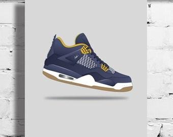Nike Air Jordan 4 Dunk From Above Poster – Sneaker Poster – A4 - A3 – Sneaker Art - Sneaker - Basketball - GOAT - Bulls - OG