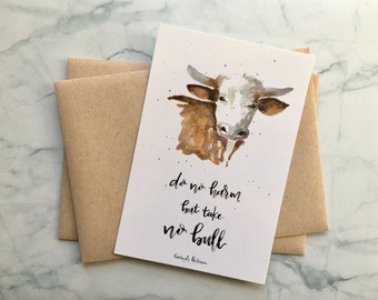 Bull Watercolor Postcards | Do No Harm But Take No Bull | Set of 10 4x6 Postcards, 10 Kraft Envelopes