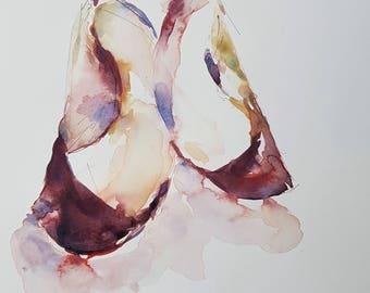 Apple wedges | Original watercolor painting | Wall art