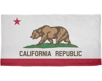 California Republic All Over Plush Beach Towel