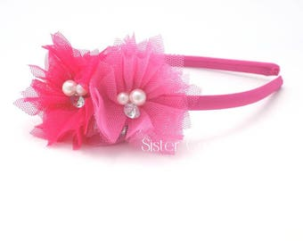 Hot Pink Girl Headband, Pink Toddler Headband, Girl Tulle Flower Headband, Flower Girl Headband, Summer Headband, Toddler Girl Birthday Gift