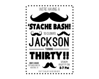 Stache Bash! Mustache Party Invitation