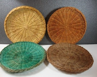 Set of 4 Wicker Paper Plate Holders in Assorted Colors Vintage Woven Plate Trays