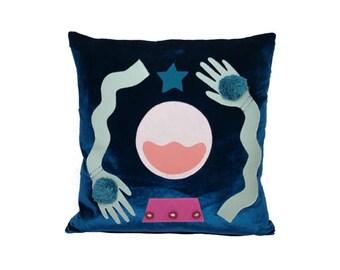 Velvet 'Fortune Teller' Cushion (Petrol Blue)