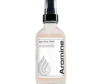 Aromine Rose Facial Toner, 4oz Glass Bottle
