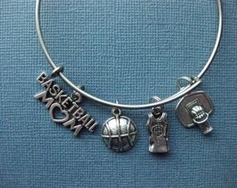 Basketball Bangle - Basketball Charm Bracelet - Basketball Jewelry - Basketball Mom - Basketball - Charm Bracelet - Bangle -- B135