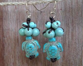 Turquoise earrings,stone earrings,blue earrings,dangle earrings,turtle earrings