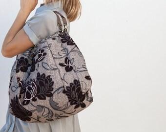 Floral bag, Reversible bag, Large hand bag, Beach bag, Weekend bag, Leather straps, Mommy Bag, Black Grey and Silver bag,