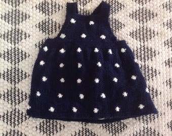 Hand knitted baby girls pinafore dress size 3-6 months