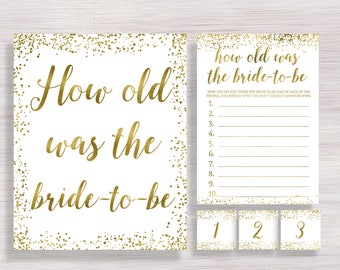 How Old Was the Bride-to-be, Funny Bridal games, Gold Bridal Shower Sign, Wedding Activity, Bachelorette party ideas, Guess The Bride's Age