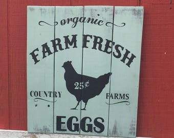Farm Fresh Eggs Sign, Farmhouse Kitchen Sign, Chicken Coop Sign, Farmers Market Egg Sign