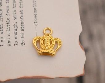 20 crown charms gold crown charm pendants