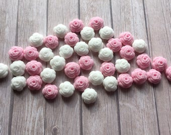 100 Edible fondant sugar Tiny Roses - Baby pink and white Cupcake / Cake Toppers