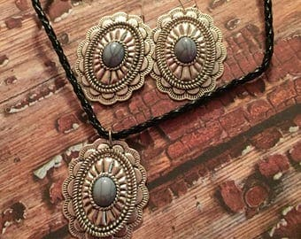 Cute  western necklace and big earring set
