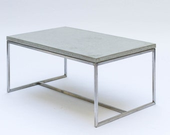 Coffee table - concrete and stainless steel