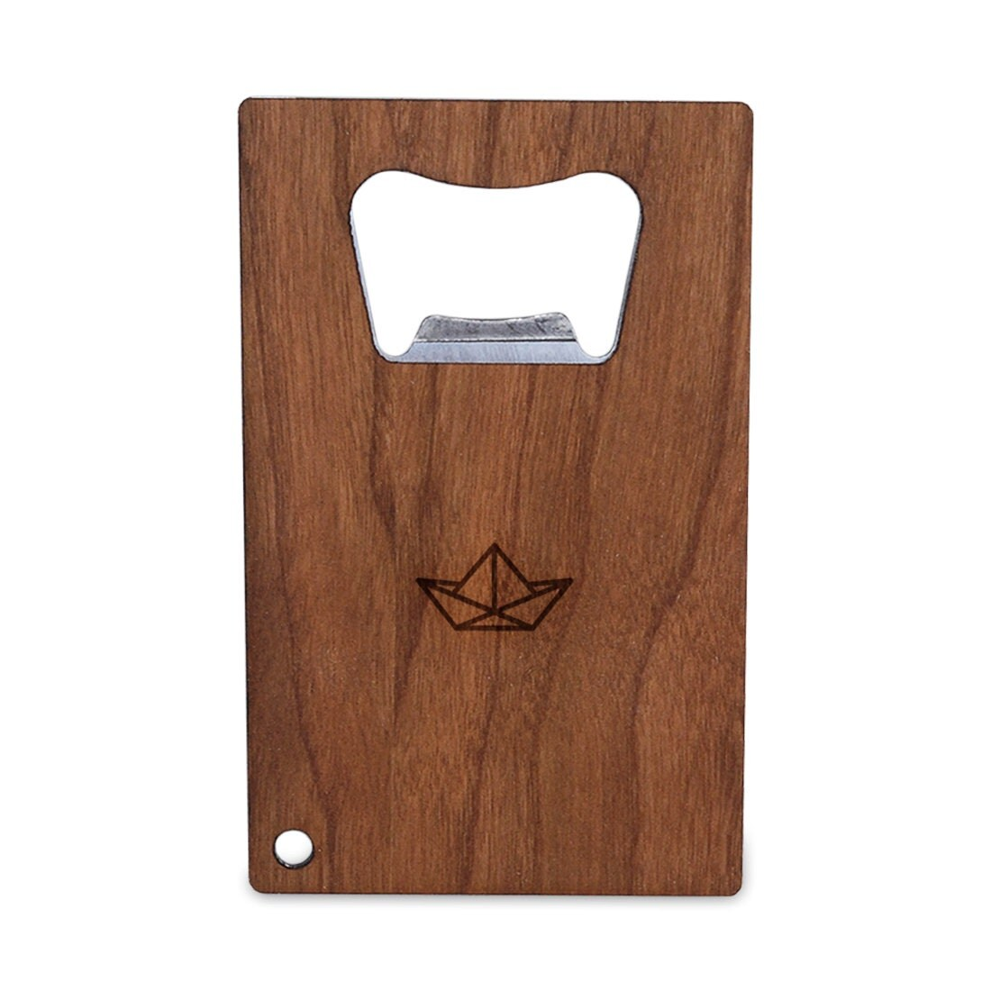 origami boat bottle opener with wood stainless steel credit. Black Bedroom Furniture Sets. Home Design Ideas